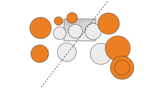 The center of the drum kit is an imaginary line through the center of the snare and the kick drum. That helps to keep them in the center of the recording when the overheads are panned left and right.